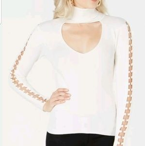 GUESS WOMEN'S WHITE HOLLY CUTOUT  BLOUSE size XS